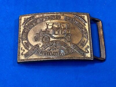 Henry Ford Ford Model T Automobiles Brass Belt buckle Detroit record yr. Vintage