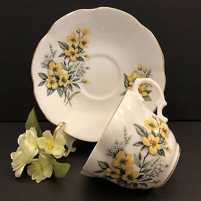 Vintage Collectible Rosina Bone China Cap and Saucer England Yellow Flower
