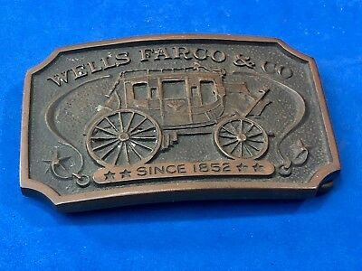 VINTAGE 1970s **WELLS FARGO AND COMPANY SINCE 1852** BELT BUCKLE Stagecoach