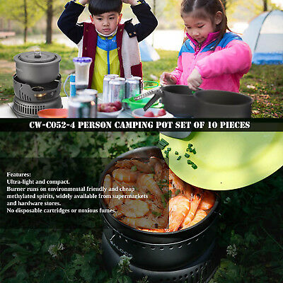 10pcs Outdoor Portable Windproof Camping Field Alcohol Stove Set Cookware P#