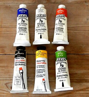 Mixed Lot Vintage Artist Oil Paint Tubes Reeves Rowney Painting Paints