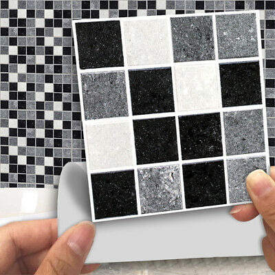 18pcs Self Adhesive Mosaic Wall Tile Sticker For Kitchen Bathroom Decoration