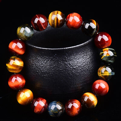 Natural Tiger Eye Stone Lucky bless Beads Men Woman Jewelry Bracelet Bangle 10mm