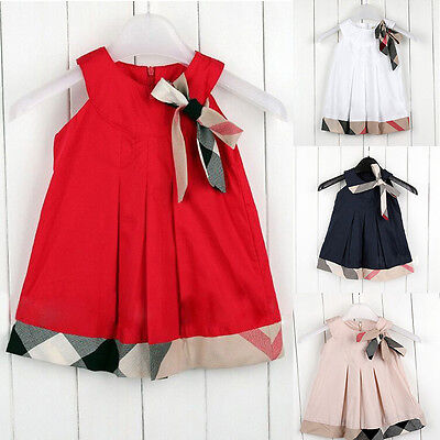Christmas Toddler Kids Baby Girls Bow Sleeveless Party Pageant Dress Clothes