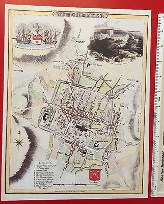 Old Antique colour map of Winchester, England early 1800's Cole & Roper Reprint