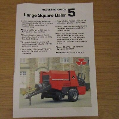 MASSEY FERGUSON MF5 MF 5 Large Square Baler UK Market Brochure Leaflet 1988