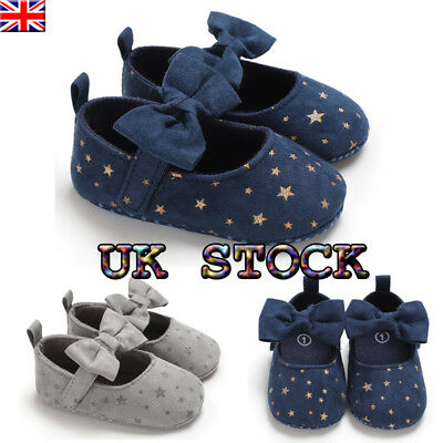 UK Newborn Baby Girls Anti-slip Bow Soft Sole Prewalker Bling Crib Pram  Shoes c448a8fce725