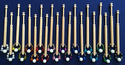 10 Pairs of Spangled Wooden Lace Making Bobbins by Harlequin Lace
