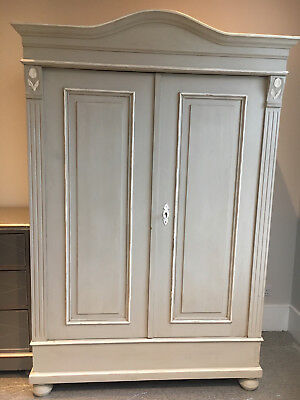 Vintage Antique French Painted Pine Cupboard Armoire Wardrobe