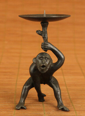 chinese old bronze hand carved monkey statue oil lamp candle stick