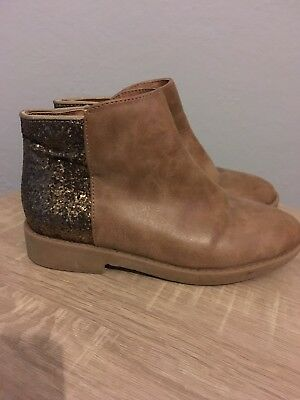 Blue Zoo Girls Brown Tan Boots With Glitter Backs Infant Size 13