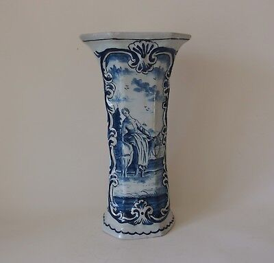 """A RARE 18th CENTURY DUTCH DELFT VASE """"WOMAN RIDING SIDESADDLE"""" (MARKED: F)"""