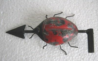 Vintage / Old Iron Beetle Weather Vane / Weathervane Original Paint Embossed