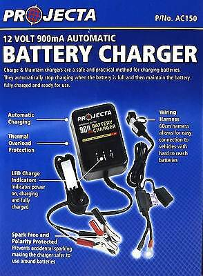 Battery Charger 12V 900mA Auto Trickle Charge Boats and Bikes Projecta AC150