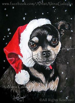 Chihuahua cute ORIGINAL dog watercolor painting portrait art Christmas gift snow