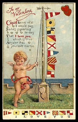 Rare Antique Nautical Flags with Cupid~ I Love You~ 1910 Valentine Postcard-a232