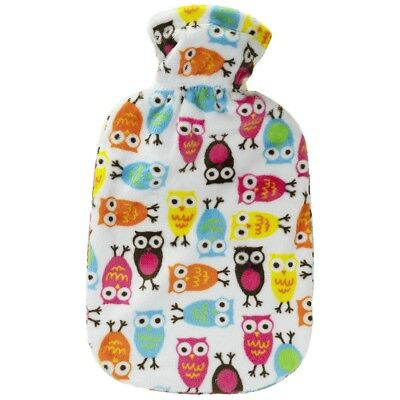 Fashy Hot Water Bottle with Night Owl Cuddles Premium Cover 2L Water Bottle