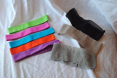 lot 8 new headbands stretch black beige lace, skinny bright colors lime green
