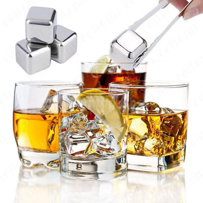 Stainless Metal Whiskey Stones Drinks Beverage Cooler Ice Cube Chiller Reuse J6