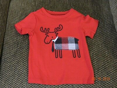 Nwt First Impressions Boys Buffalo Plaid Moose T-Shirt In Size 3-6 Months