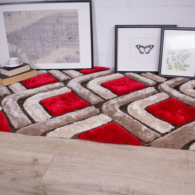 Popular Thick Red Brown Polyester Shaggy Rugs Soft Pebbles Warm Large Carpet Rug