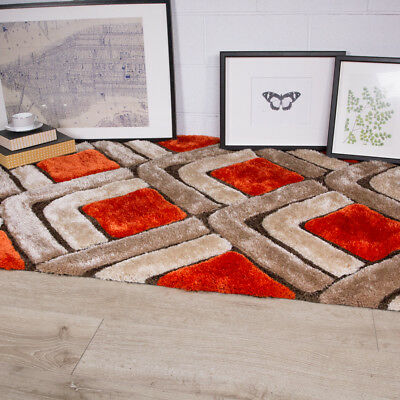 Contemporary Thick Rust Popular Shaggy Rugs Pebbles Orange Warm Large Area Rug