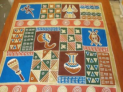 """NEW AFRICAN Motif Painted Embossed FABRIC TABLECLOTH Copper 58"""" x 75"""" Rectangle"""