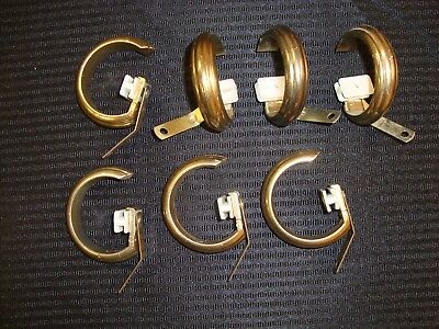 "NEW 7 pc KIRSCH REPLACEMENT TRAVERSE RING SLIDES Antique Brass Fits 1 3/8"" Rod"