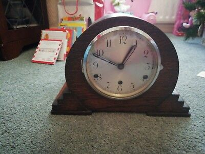 Antique 1930's Solid Oak Westminster Chime Mantle Clock (Vintage) with key.