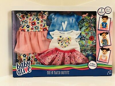 Baby Alive Mix N' Match Outfits With 7 Pieces Of Clothes Dress Leggings Tutu Nib