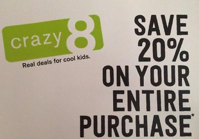 Crazy 8 20% Off Entire Purchase Coupon Code EXP 12/28/18 Crazy8
