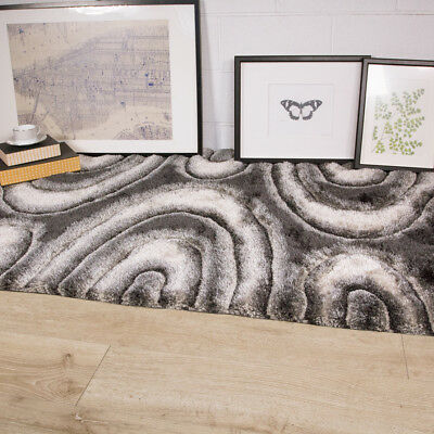 Cosy Grey Black Swirl Shaggy Rugs Fluffy Silver Neutral Thick Living Room Rug