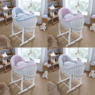 Clair de Lune Speckles White Crossover Noah Pod Wicker Moses Basket