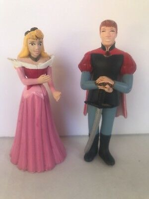 DISNEY SLEEPING BEAUTY PVC PRINCESS AURORA PRINCE PHILLIP toy figurines set of 2