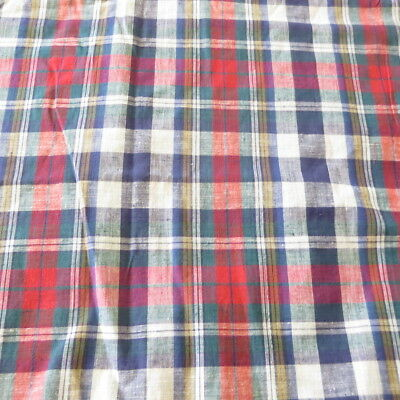 """PLAID Cotton Fabric 45 1/2""""W by 2 3/4 Yds Blue,Red,Green NEW"""