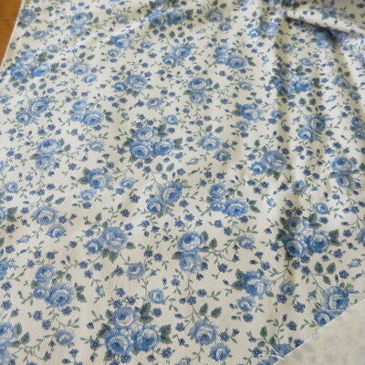 """Cotton Twill? Fabric PETER PAN FABRICS Cream with Blue Roses 46""""W x 4 Yds NEW"""