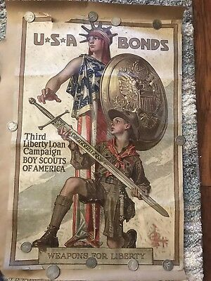 Vintage 1917/18 Boy Scouts of America WWI Third Liberty Loan Campaign Poster BSA