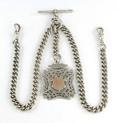 Antique Sterling Silver Double Albert Watch Chain & Large Fob Medal 16 3/4 Inch