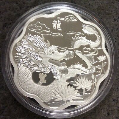 CANADA 2012 LUNAR LOTUS YEAR OF THE DRAGON 26.7g 38 Mill. $15 SILVER PR COIN. D