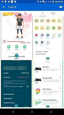 Lvl 32 Pokemon Go Acc valor Team With many Shinys