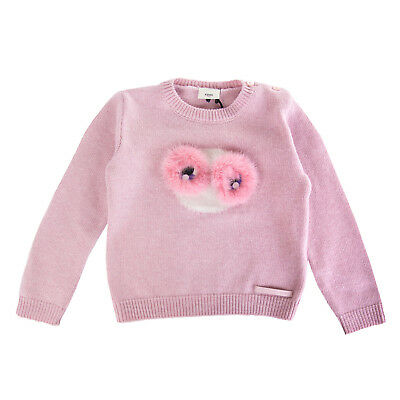 FENDI ROMA Jumper Size 24M Cashmere & Wool Blend Fur Trim Made in Italy RRP €330