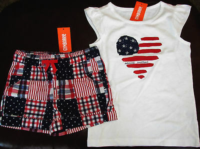 Gymboree Red White & Cute America's Cutie top & patchwork shorts NWT 5