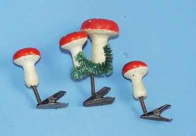 Three hard cotton Mushrooms red tops clip on