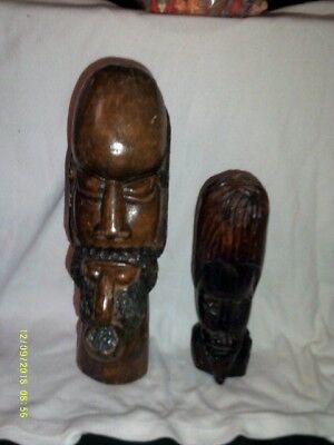 2 Hand Carved Ebony Wood Sculpture African Tribal Art Bust Head Statue Figure