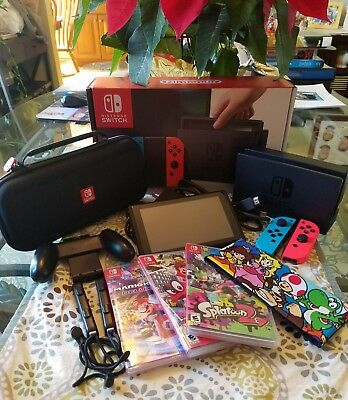 Nintendo Switch - 32GB Gray Console (with Neon Red/Neon Blue Joy-Con) BUNDLE