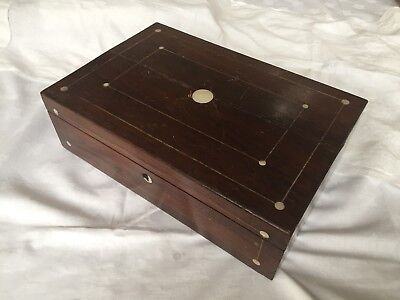Antique 19th Century Portable Wooden Lap Desk, Mother Of Pearl Inlay