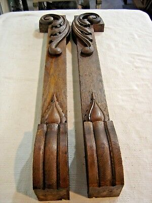 Antique 2 pcs. Oak Columns - Pillars with Applied Carving Salvage   321