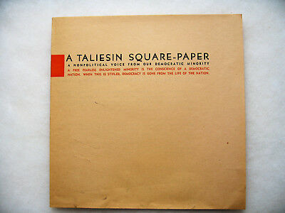"""Frank Lloyd Wright A Taliesin Square Paper No.15 """"On Architecture for Democracy"""""""