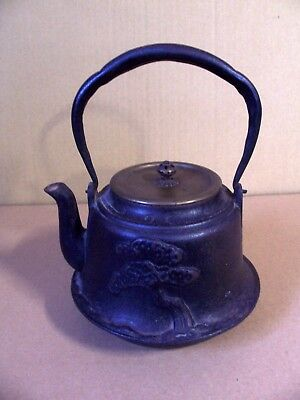 Antique Signed Ryubundo Cast Iron Tetsubin Teapot Kettle Embossed Bonsai Tree