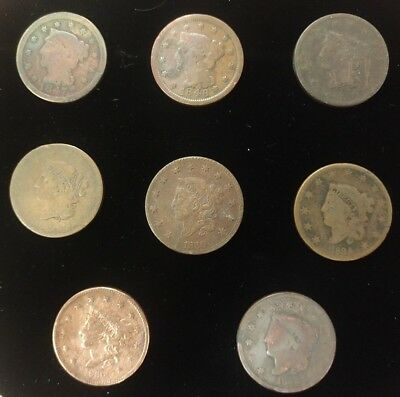Group of (8) 1830s and 1840s US Large Cents - Includes 1839 - Lot F